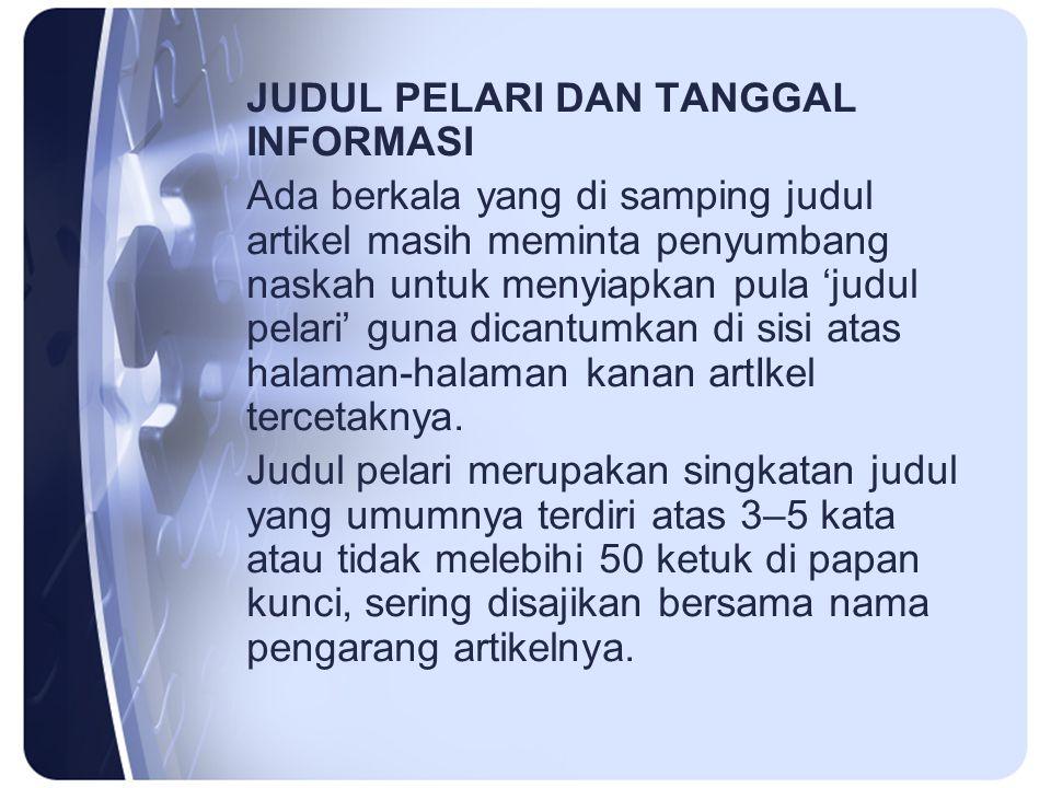 JUDUL PELARI DAN TANGGAL INFORMASI