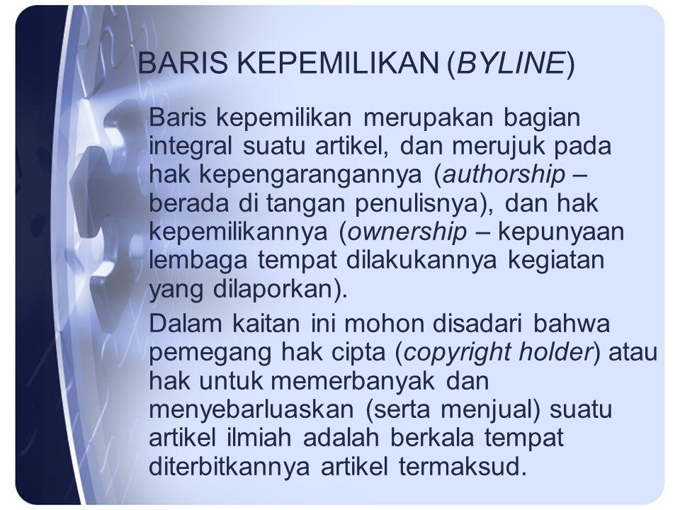 BARIS KEPEMILIKAN (BYLINE)