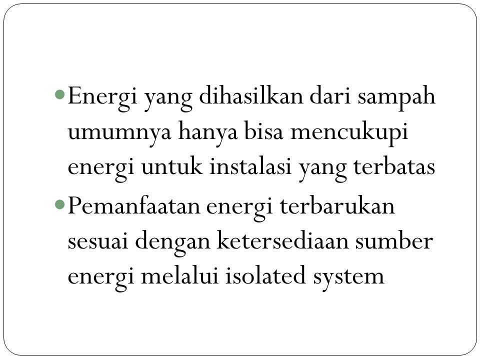 Energi yang dihasilkan dari sampah umumnya hanya bisa mencukupi energi untuk instalasi yang terbatas
