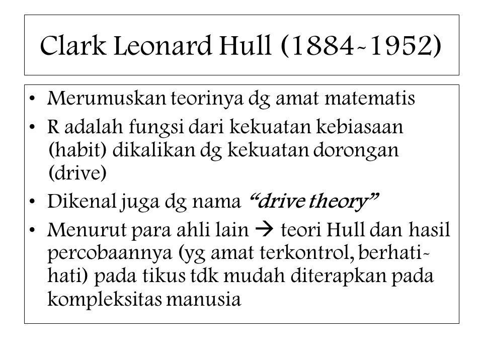 Clark Leonard Hull (1884-1952) Merumuskan teorinya dg amat matematis
