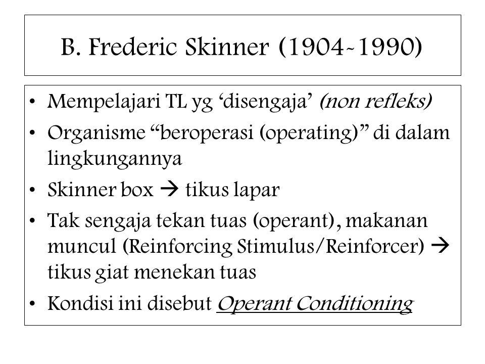 B. Frederic Skinner (1904-1990) Mempelajari TL yg 'disengaja' (non refleks) Organisme beroperasi (operating) di dalam lingkungannya.