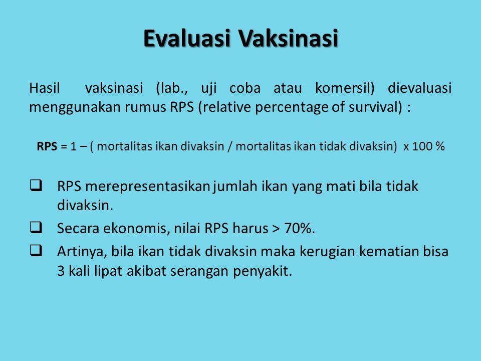 Evaluasi Vaksinasi Hasil vaksinasi (lab., uji coba atau komersil) dievaluasi menggunakan rumus RPS (relative percentage of survival) :