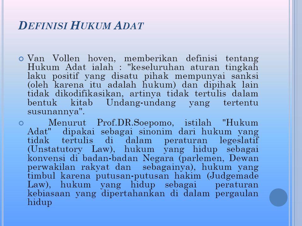 Definisi Hukum Adat