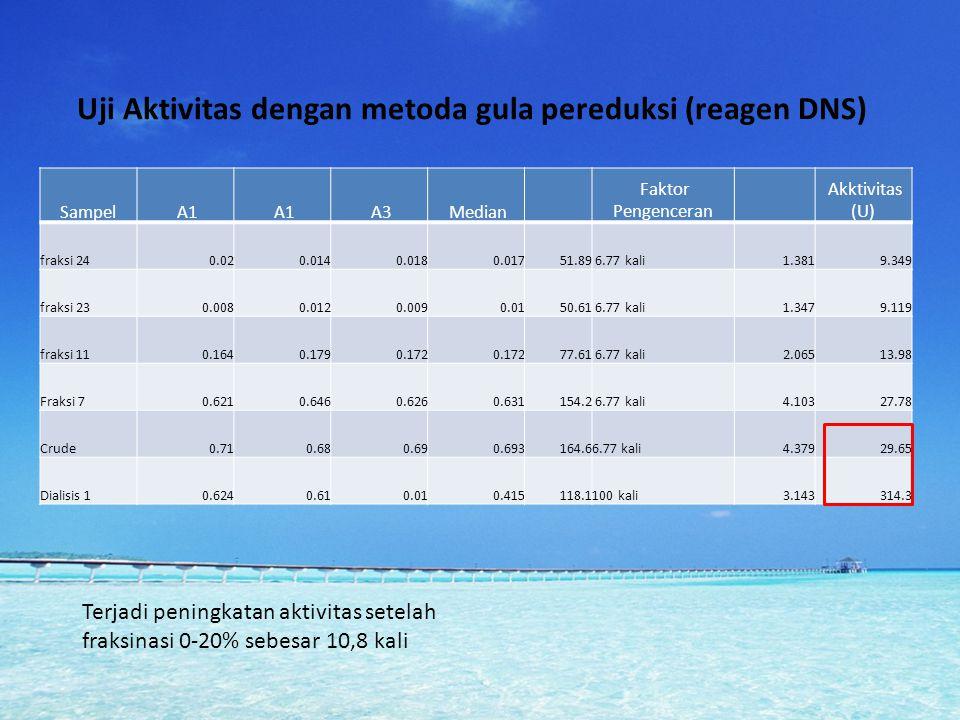 Uji Aktivitas dengan metoda gula pereduksi (reagen DNS)