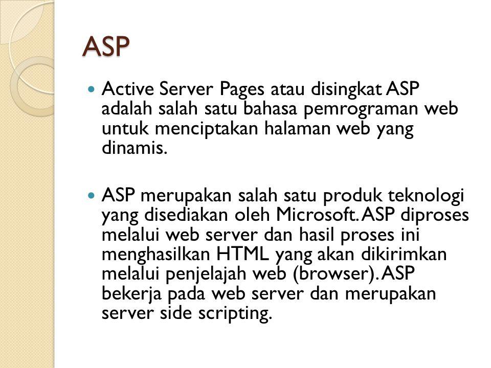 ASP Active Server Pages atau disingkat ASP adalah salah satu bahasa pemrograman web untuk menciptakan halaman web yang dinamis.