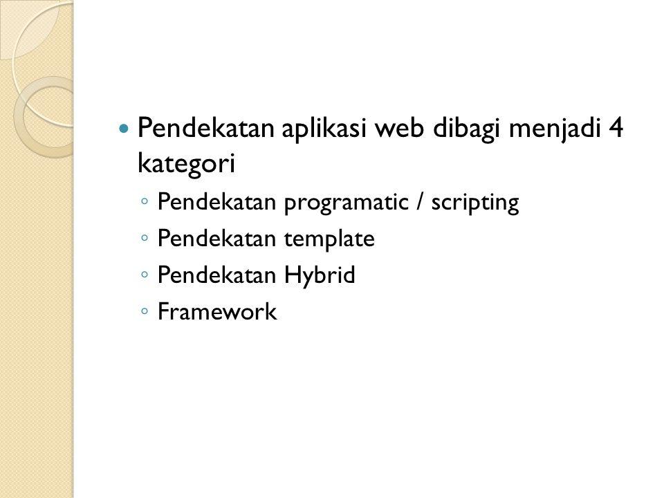 Pendekatan aplikasi web dibagi menjadi 4 kategori