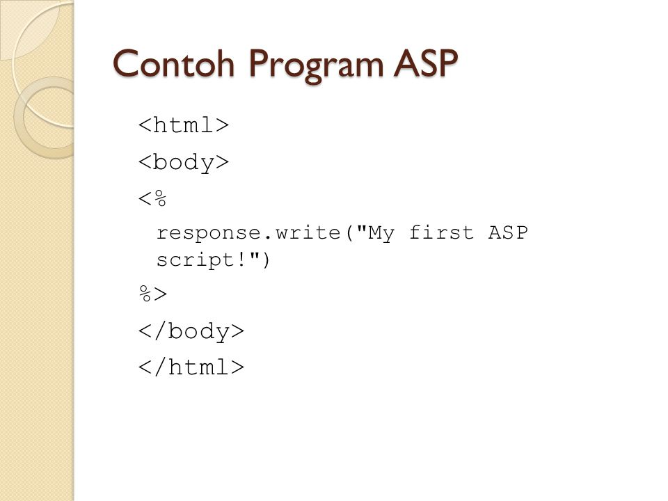 Contoh Program ASP <html> <body> <% %> </body>