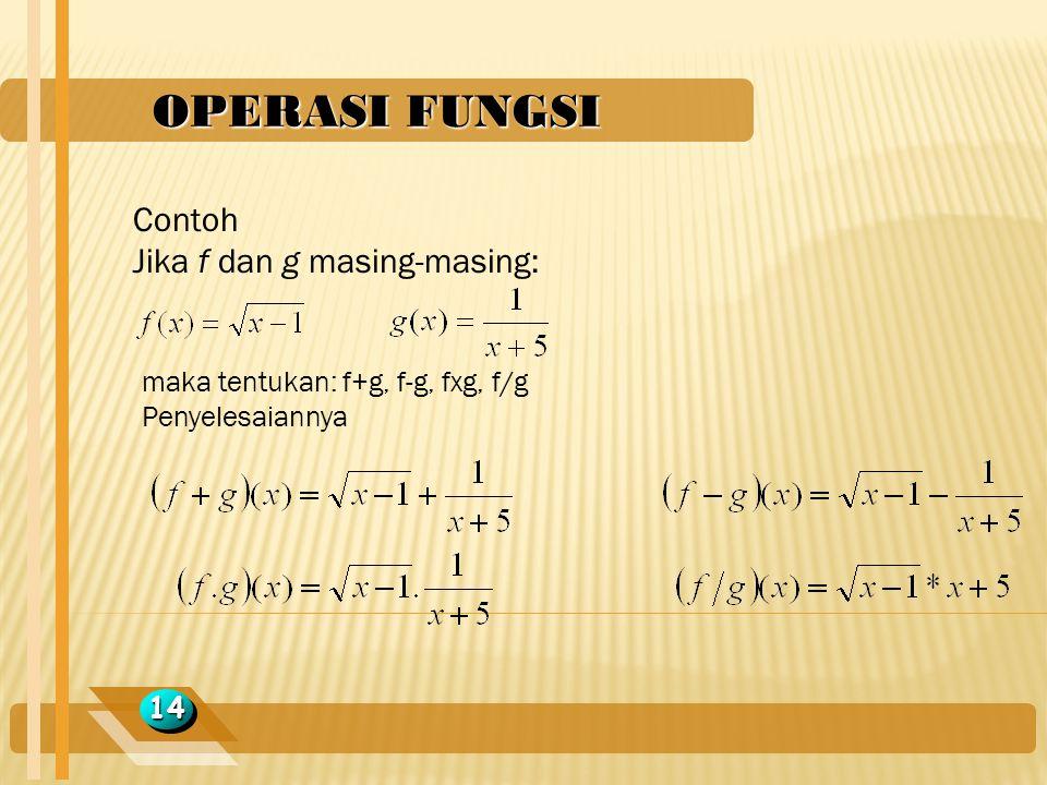 OPERASI FUNGSI Contoh Jika f dan g masing-masing: