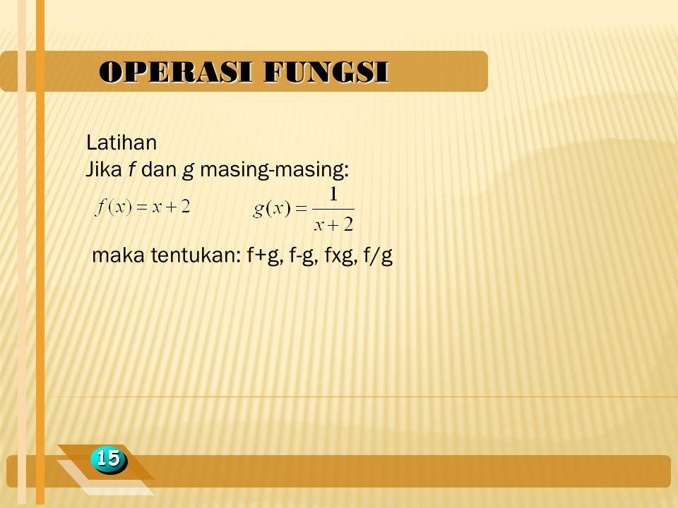 OPERASI FUNGSI Latihan Jika f dan g masing-masing: