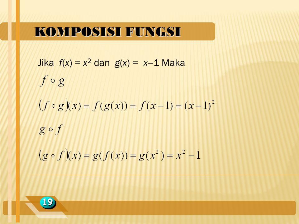 KOMPOSISI FUNGSI Jika f(x) = x2 dan g(x) = x1 Maka 19