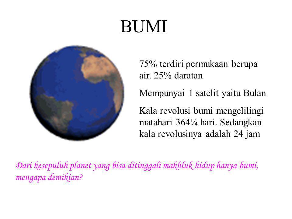 BUMI 75% terdiri permukaan berupa air. 25% daratan