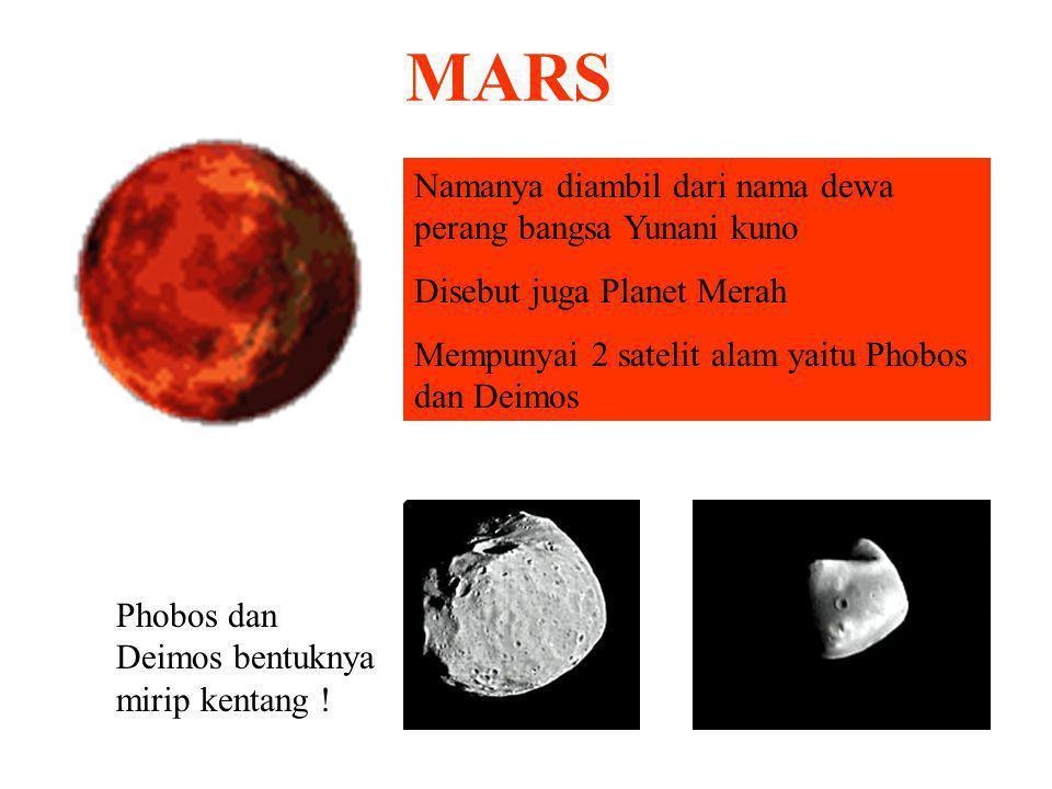 MARS Namanya diambil dari nama dewa perang bangsa Yunani kuno