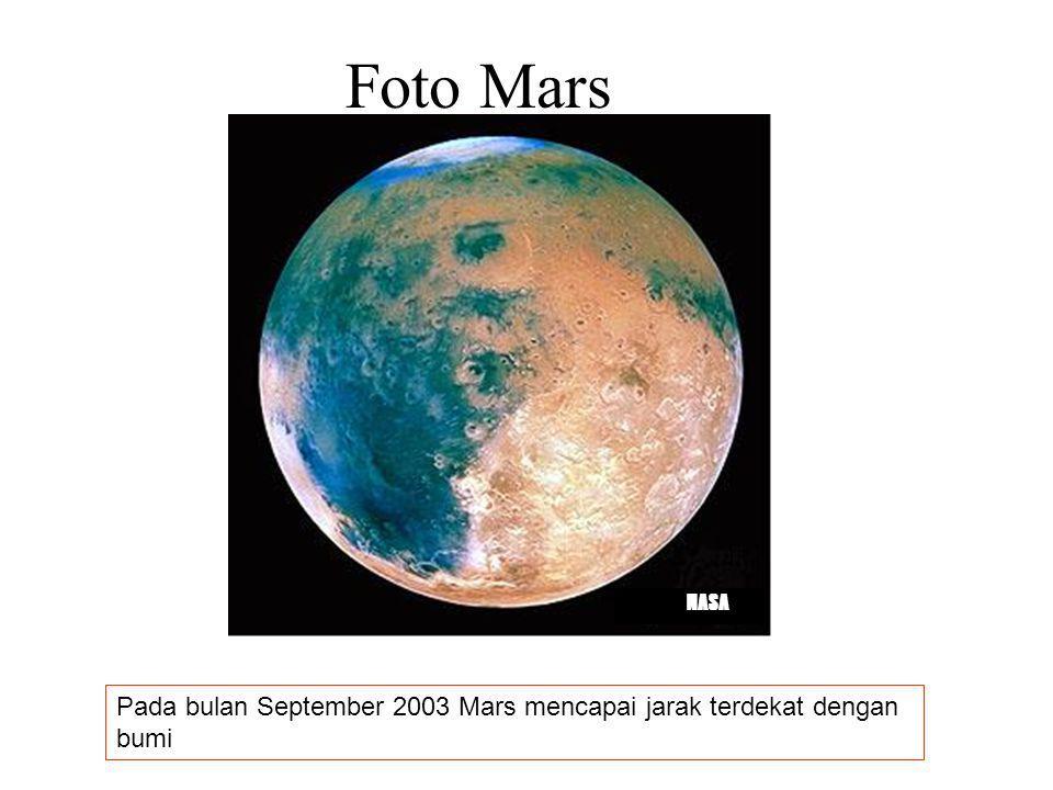 Foto Mars NASA Pada bulan September 2003 Mars mencapai jarak terdekat dengan bumi