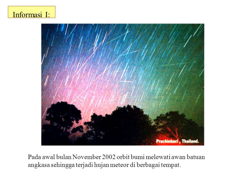 Informasi I: Pada awal bulan November 2002 orbit bumi melewati awan batuan angkasa sehingga terjadi hujan meteor di berbagai tempat.