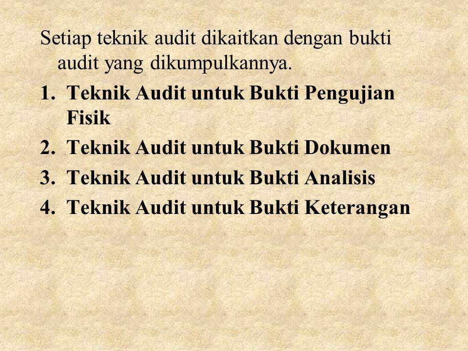 Setiap teknik audit dikaitkan dengan bukti audit yang dikumpulkannya.