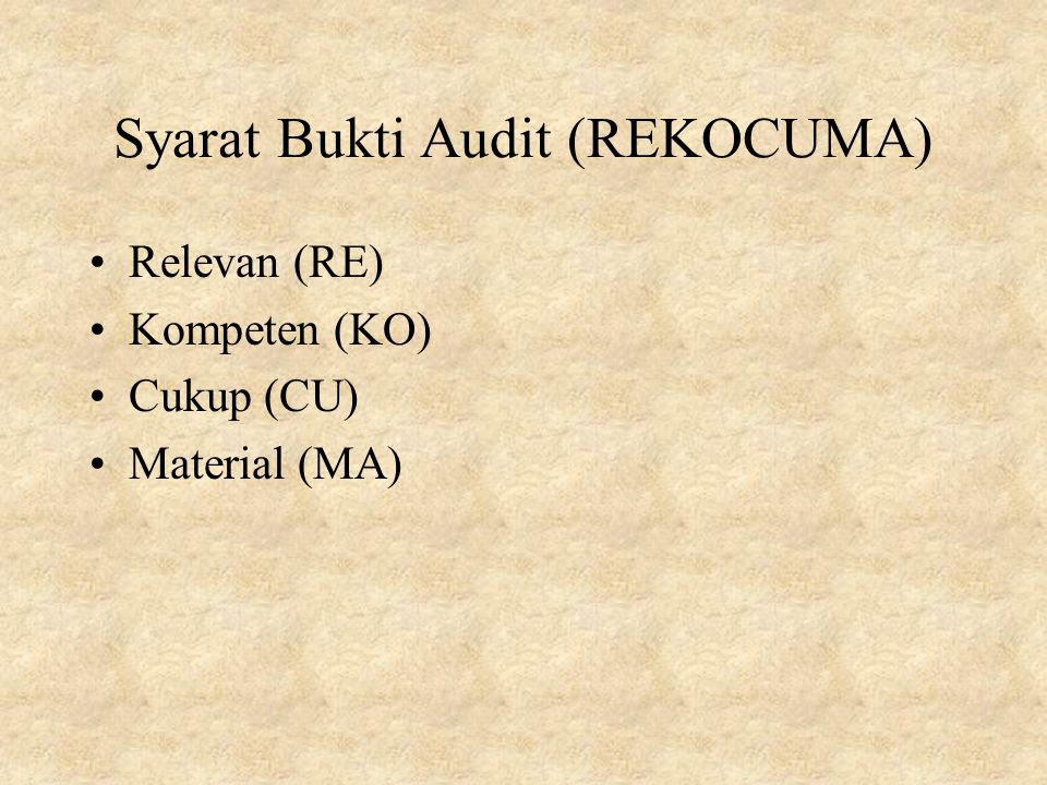 Syarat Bukti Audit (REKOCUMA)