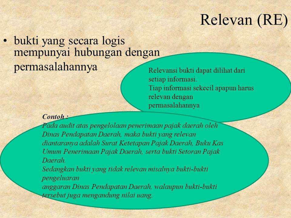 Relevan (RE) bukti yang secara logis mempunyai hubungan dengan