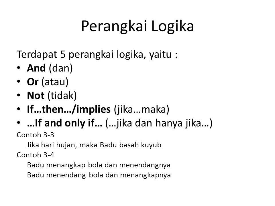 Perangkai Logika Terdapat 5 perangkai logika, yaitu : And (dan)