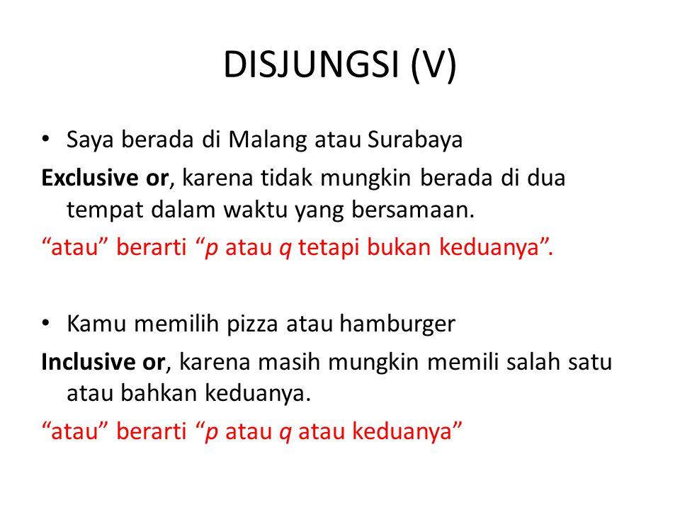 DISJUNGSI (V) Saya berada di Malang atau Surabaya