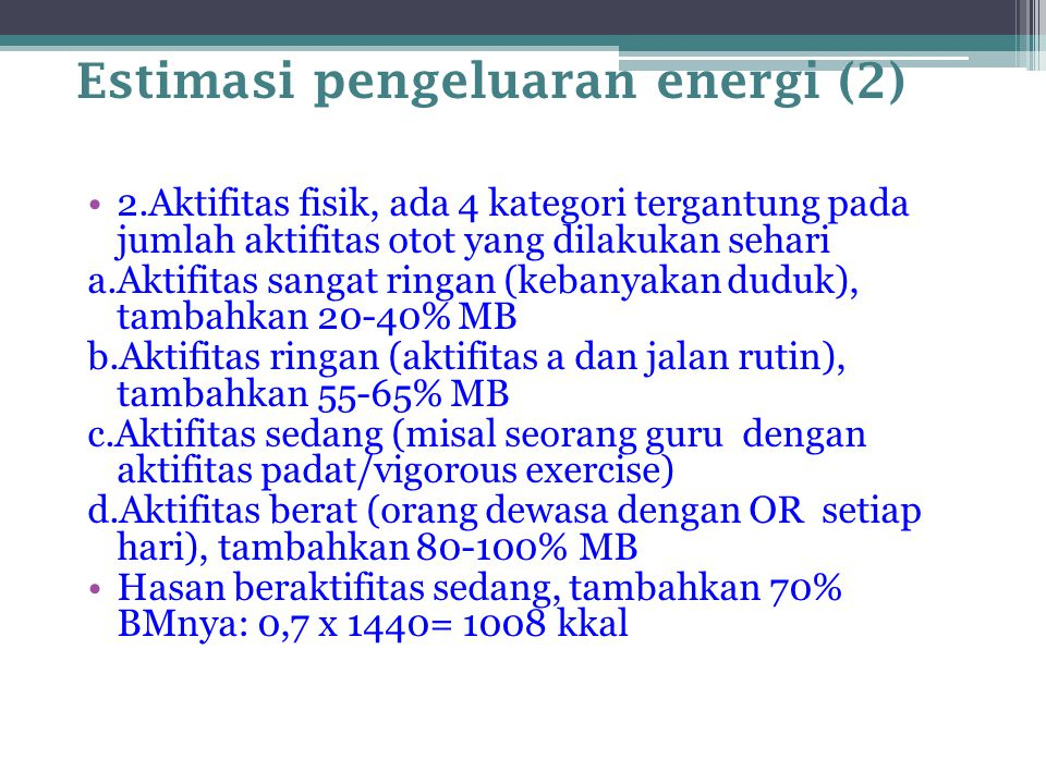 Estimasi pengeluaran energi (2)