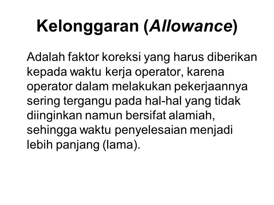 Kelonggaran (Allowance)