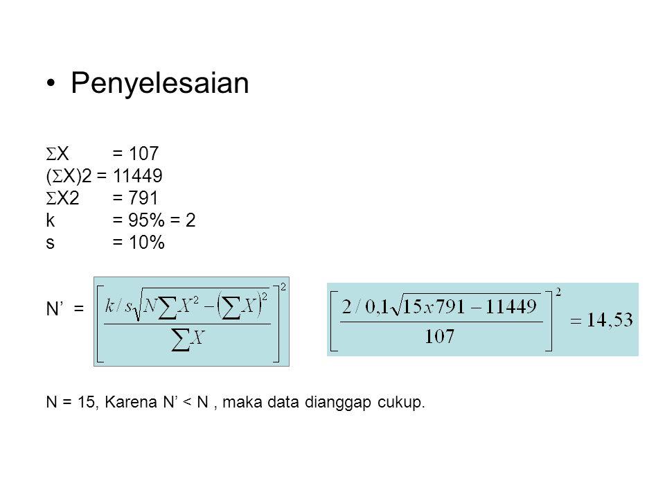 Penyelesaian X = 107 (X)2 = 11449 X2 = 791 k = 95% = 2 s = 10% N' =