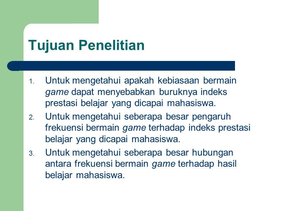 Tujuan Penelitian Untuk mengetahui apakah kebiasaan bermain game dapat menyebabkan buruknya indeks prestasi belajar yang dicapai mahasiswa.
