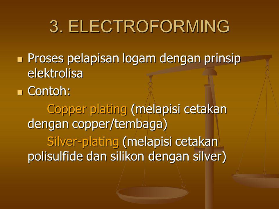 3. ELECTROFORMING Proses pelapisan logam dengan prinsip elektrolisa