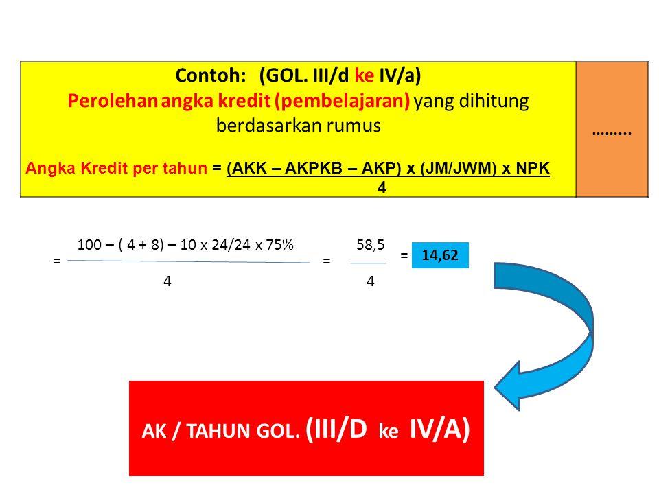 Contoh: (GOL. III/d ke IV/a) AK / TAHUN GOL. (III/D ke IV/A)