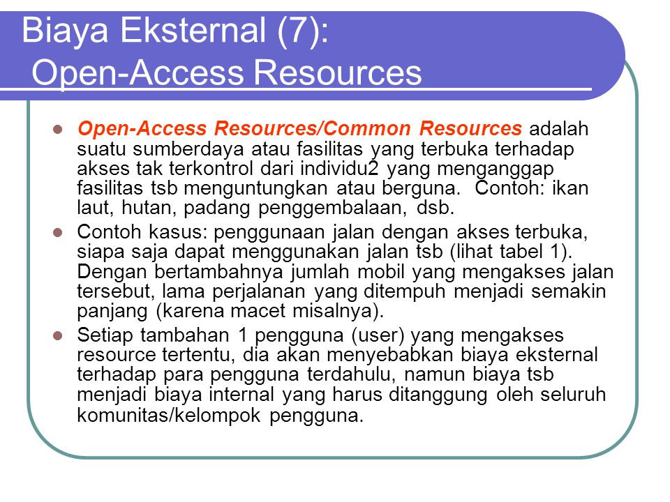 Biaya Eksternal (7): Open-Access Resources