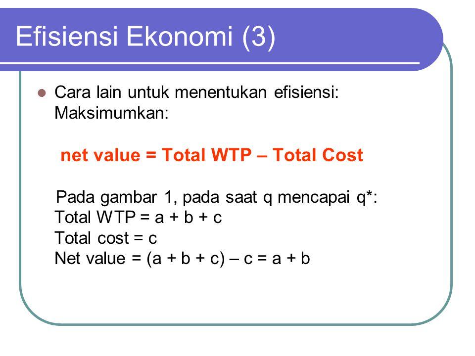 Efisiensi Ekonomi (3) Cara lain untuk menentukan efisiensi: