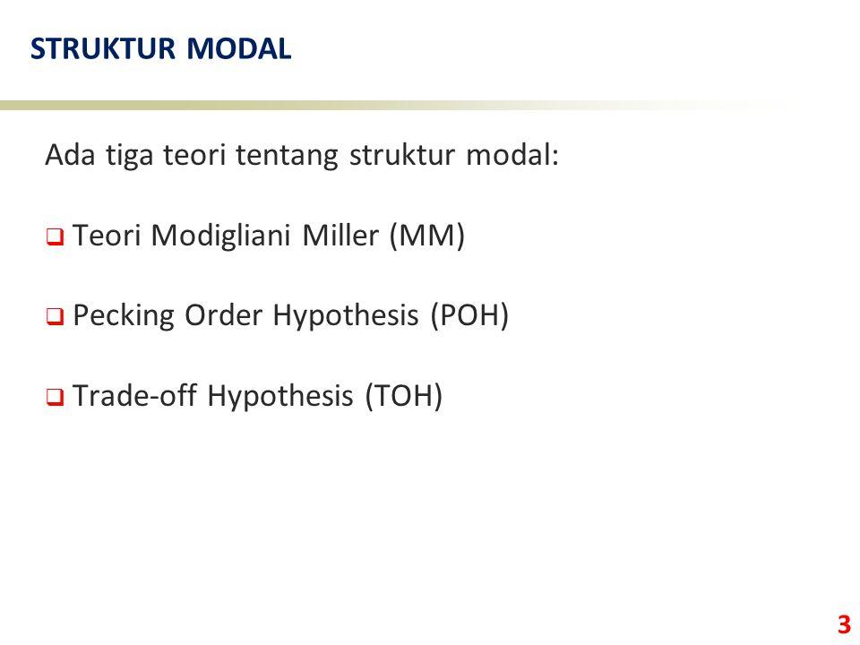 STRUKTUR MODAL Ada tiga teori tentang struktur modal: Teori Modigliani Miller (MM) Pecking Order Hypothesis (POH)