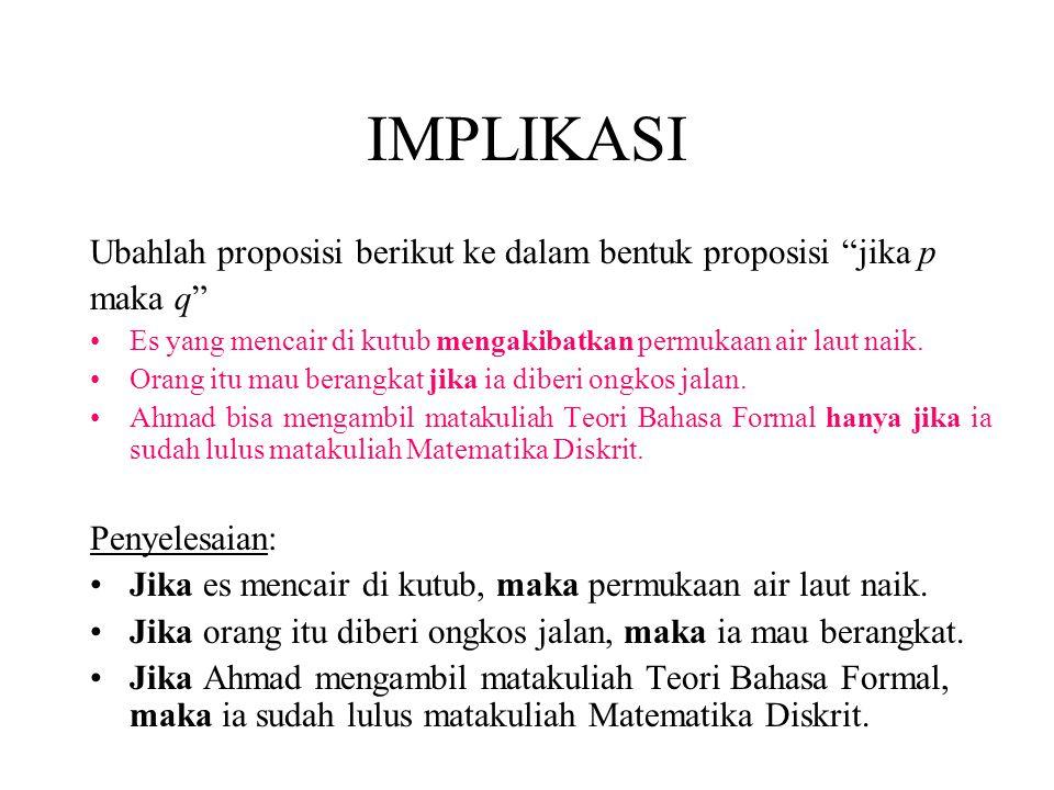 IMPLIKASI Ubahlah proposisi berikut ke dalam bentuk proposisi jika p