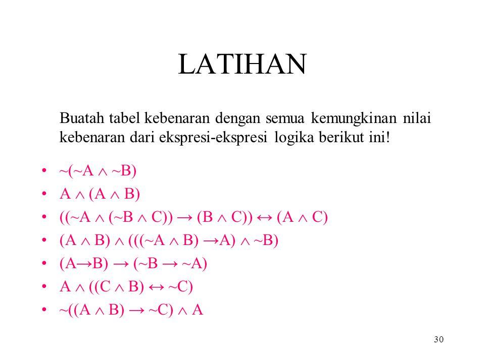 LATIHAN Buatah tabel kebenaran dengan semua kemungkinan nilai kebenaran dari ekspresi-ekspresi logika berikut ini!