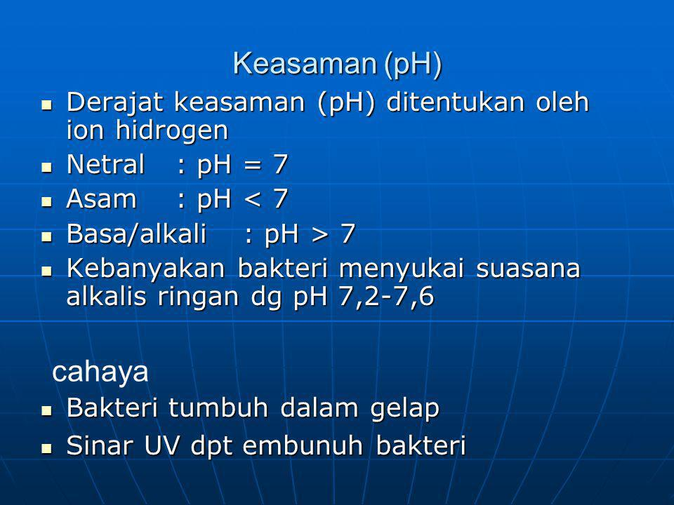 Keasaman (pH) Derajat keasaman (pH) ditentukan oleh ion hidrogen. Netral : pH = 7. Asam : pH < 7.