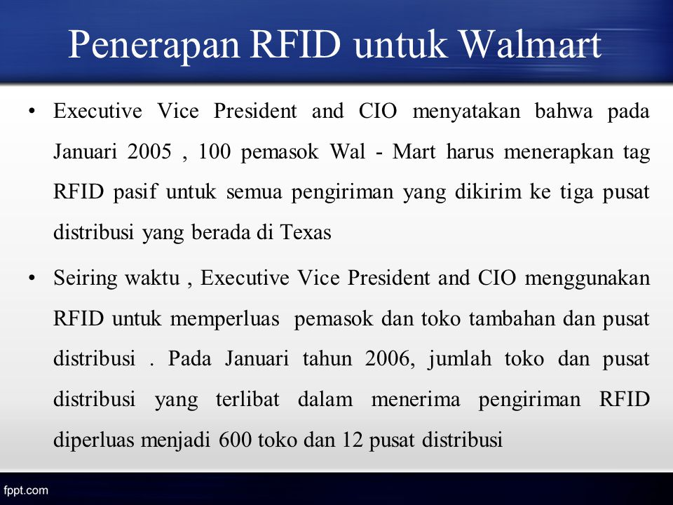 Penerapan RFID untuk Walmart