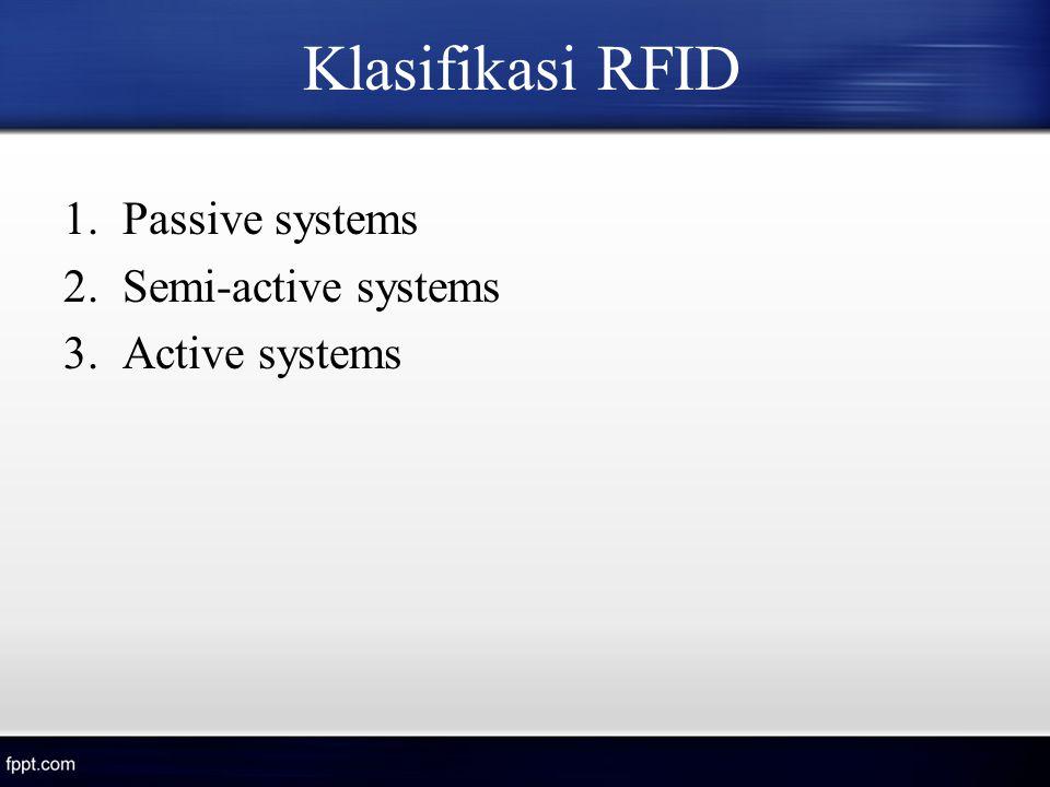 Klasifikasi RFID Passive systems Semi-active systems Active systems