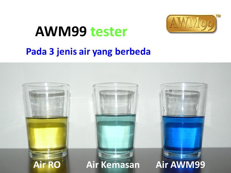 AWM99 tester Pada 3 jenis air yang berbeda