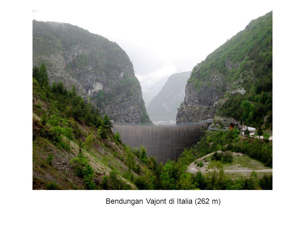Bendungan Vajont di Italia (262 m)