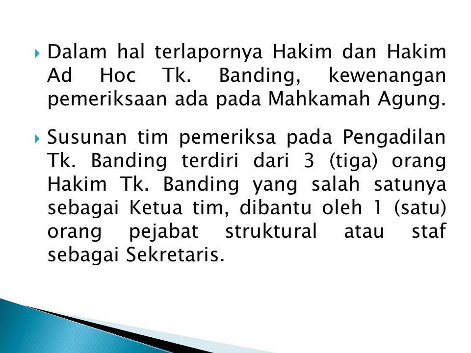 Dalam hal terlapornya Hakim dan Hakim Ad Hoc Tk