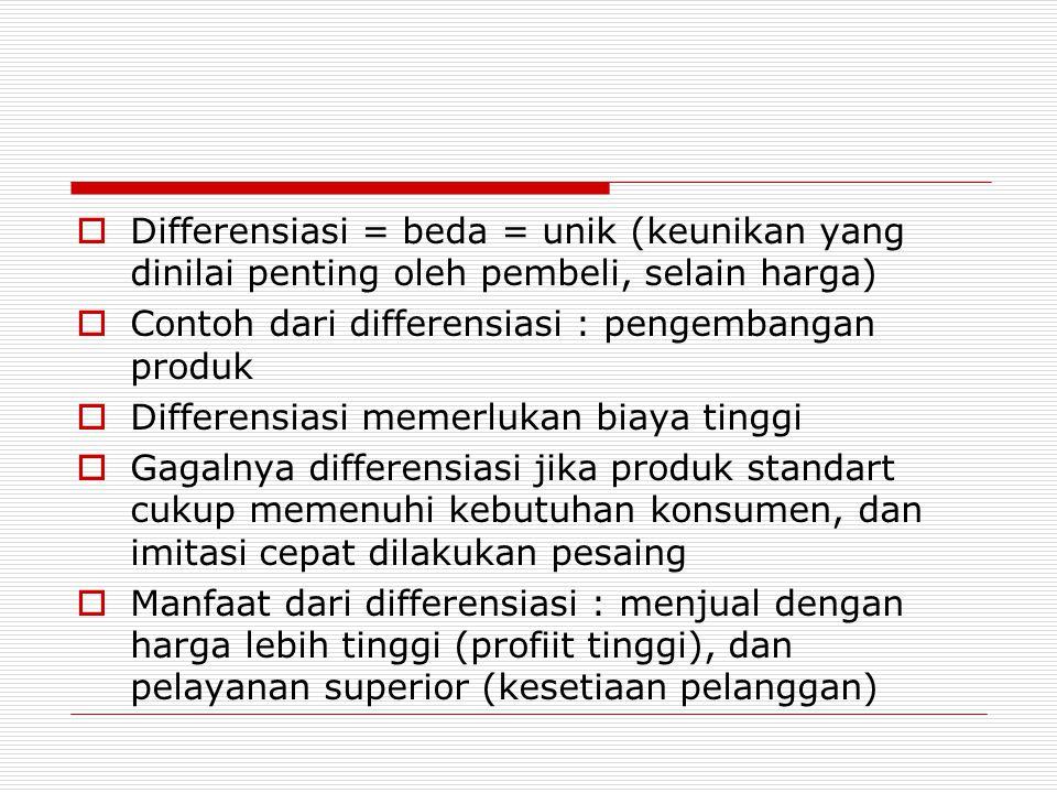 Differensiasi = beda = unik (keunikan yang dinilai penting oleh pembeli, selain harga)