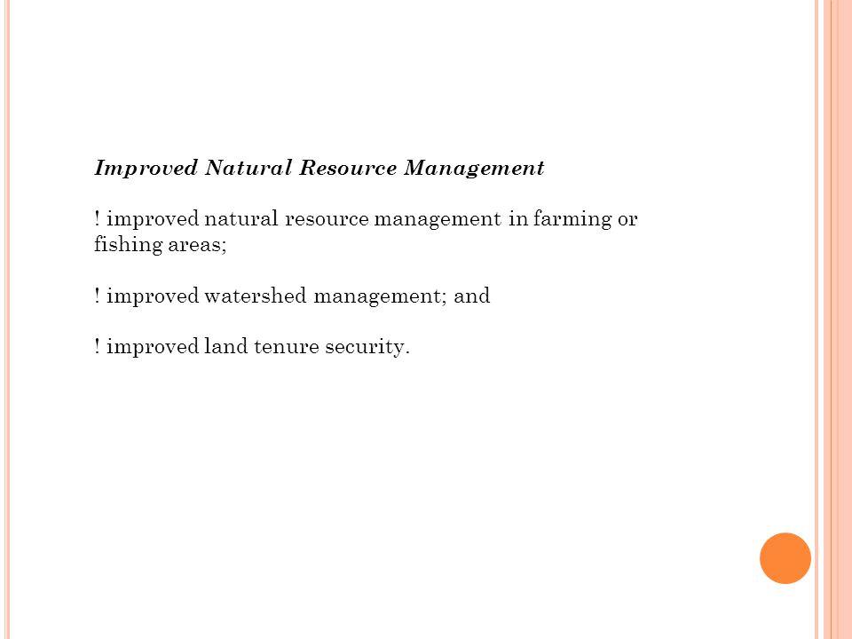 Improved Natural Resource Management