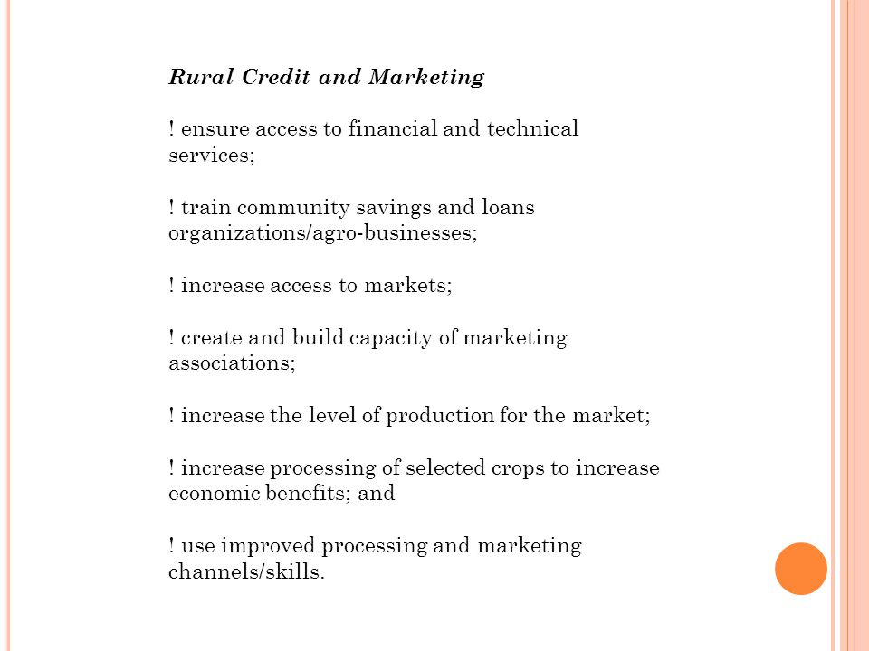 Rural Credit and Marketing