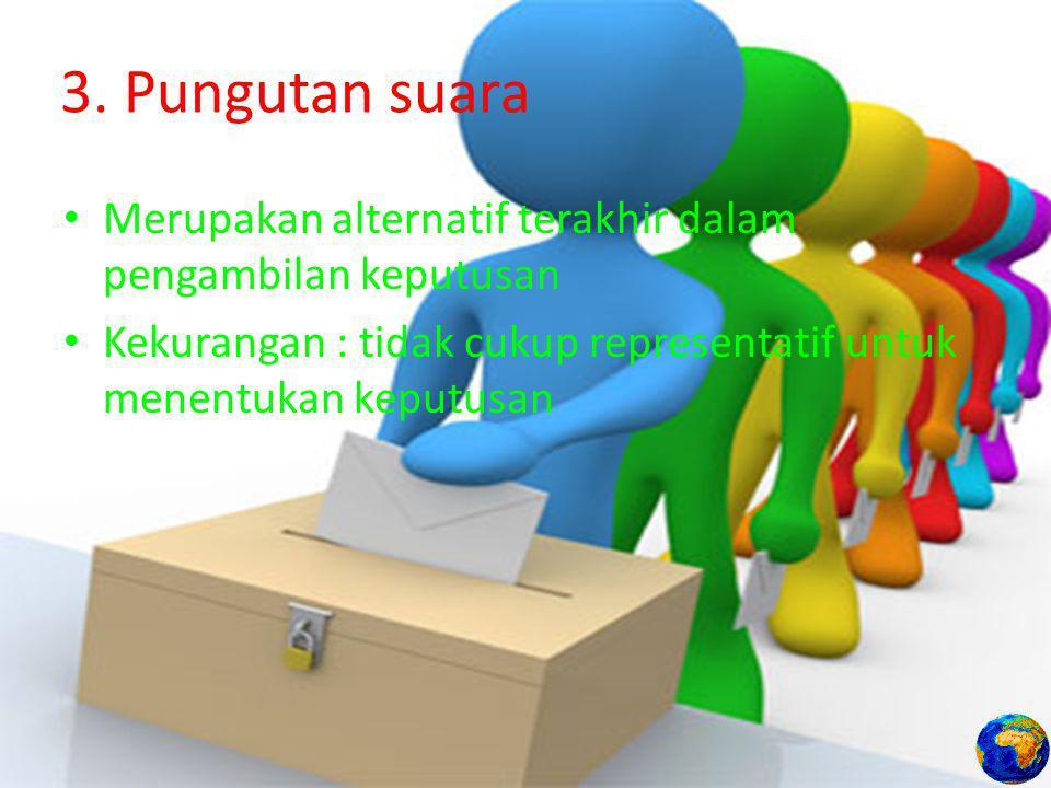 3. Pungutan suara Merupakan alternatif terakhir dalam pengambilan keputusan.