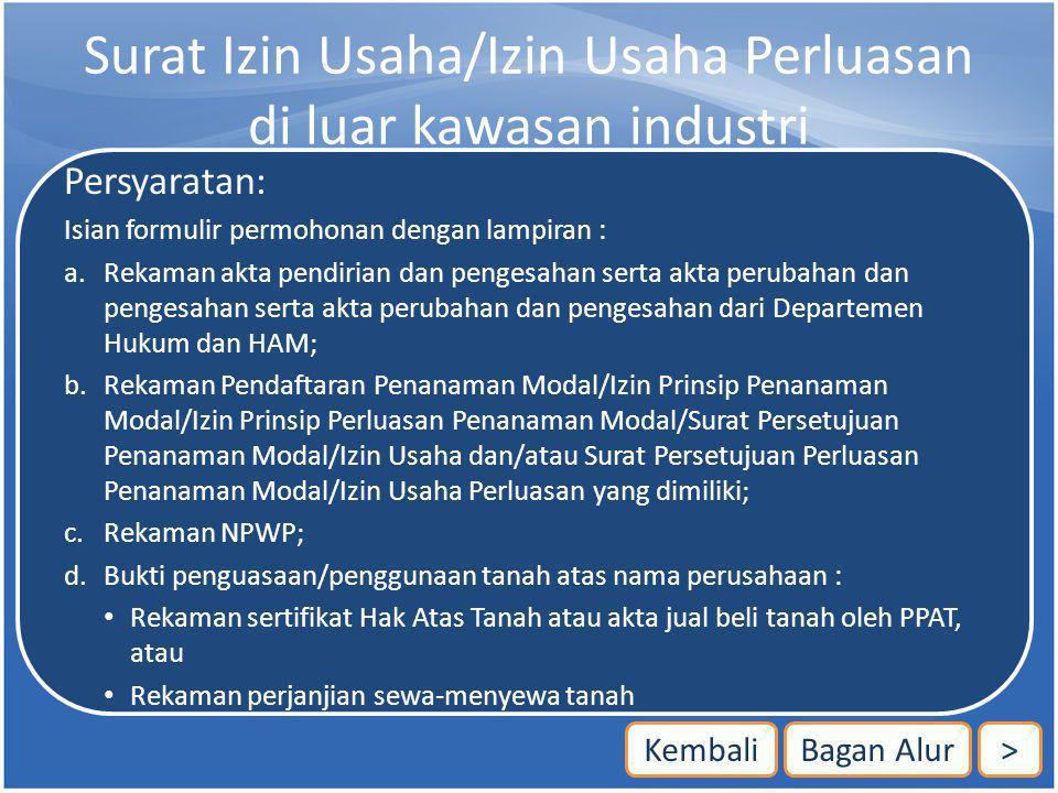 Surat Izin Usaha/Izin Usaha Perluasan di luar kawasan industri
