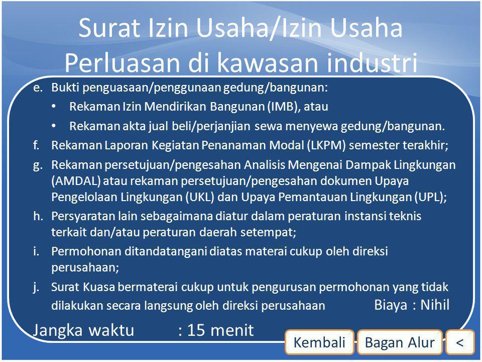Surat Izin Usaha/Izin Usaha Perluasan di kawasan industri