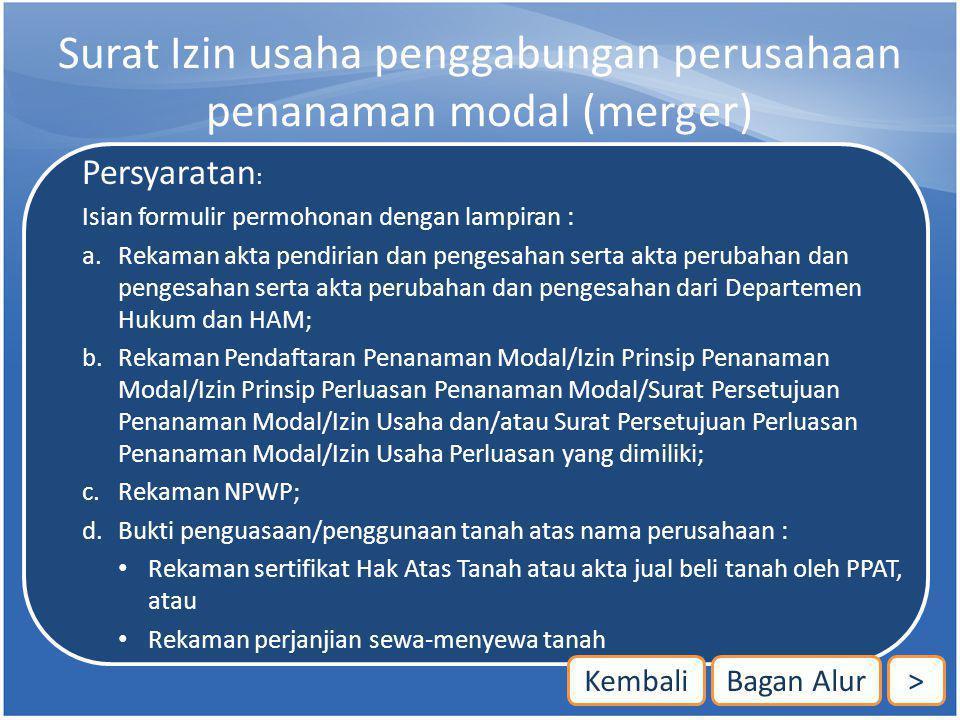 Surat Izin usaha penggabungan perusahaan penanaman modal (merger)