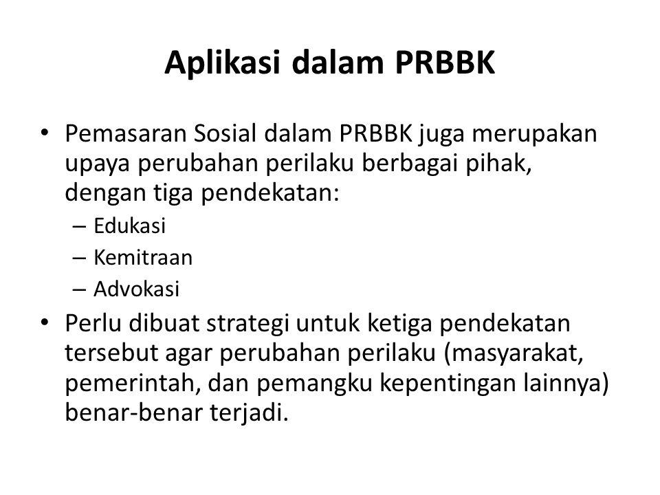 Aplikasi dalam PRBBK Pemasaran Sosial dalam PRBBK juga merupakan upaya perubahan perilaku berbagai pihak, dengan tiga pendekatan: