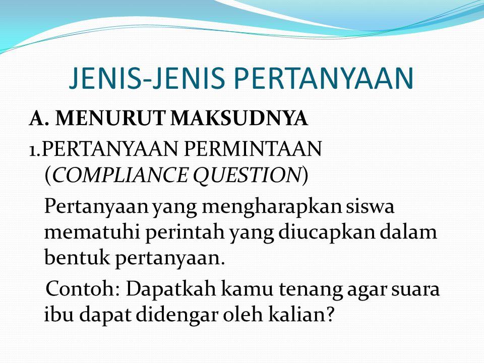 JENIS-JENIS PERTANYAAN