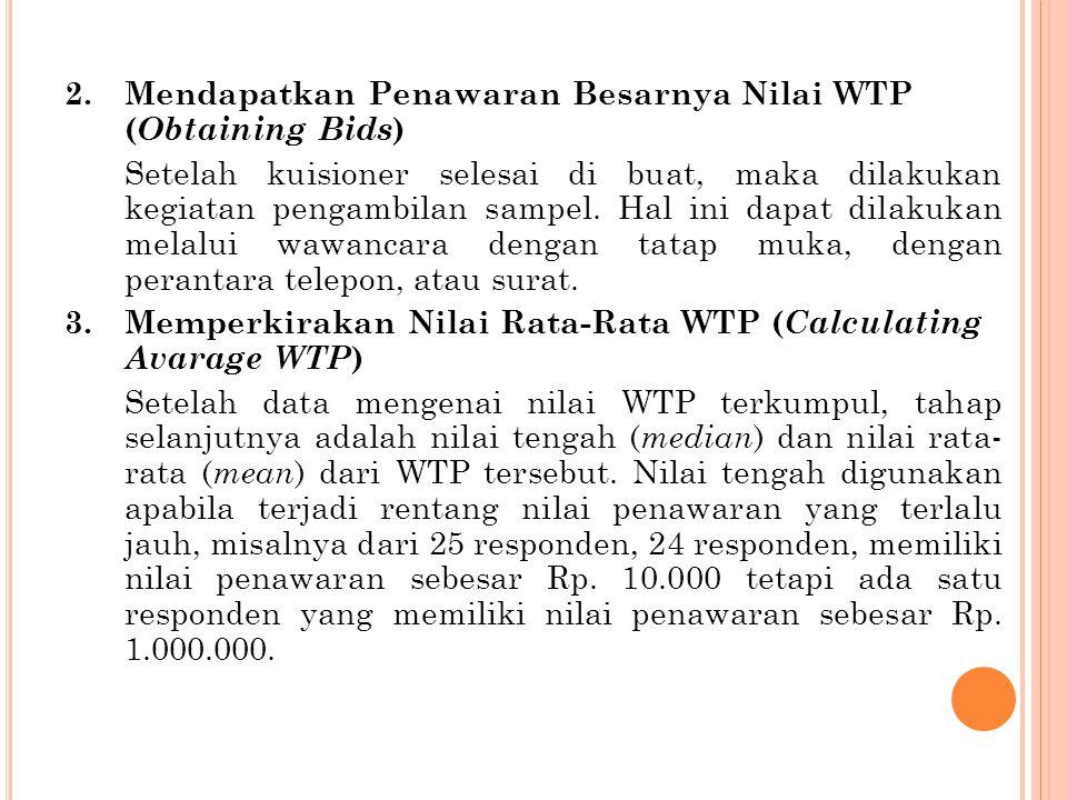 Mendapatkan Penawaran Besarnya Nilai WTP (Obtaining Bids)